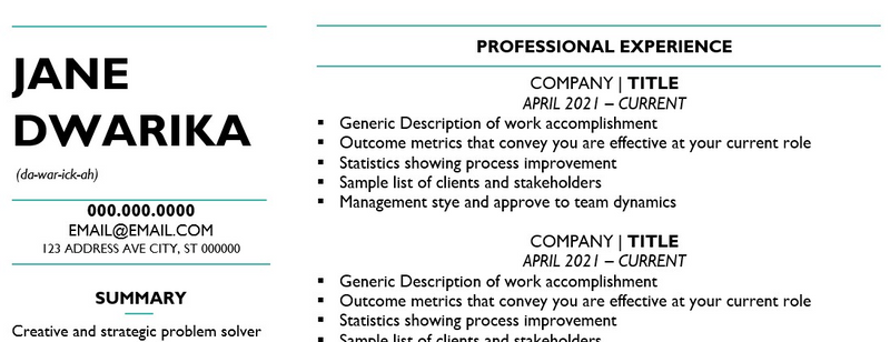 resume with phonetics listed