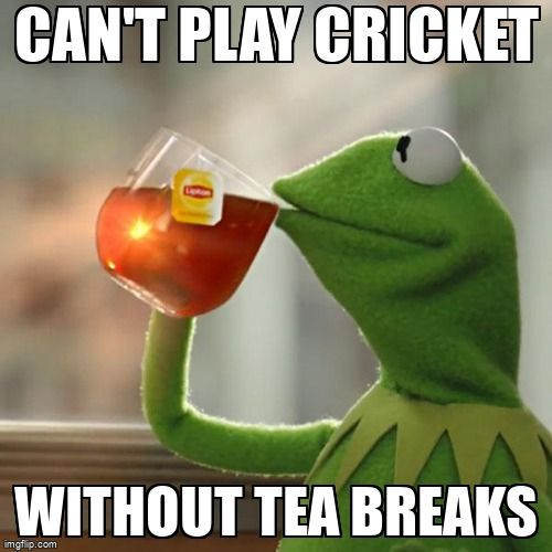 Kermit the Frog drinking tea, over the text