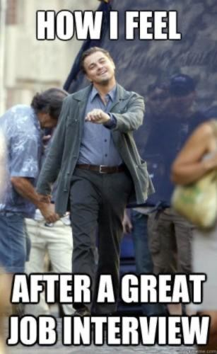 Leo DiCaprio Meme: Looking happy following a job interview