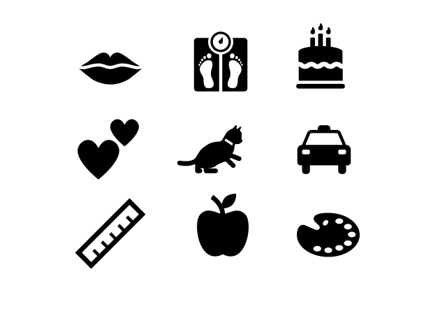 A series of icons depicting a person's biographical information