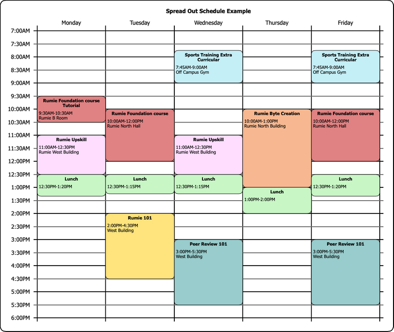 An example of a schedule spread across with week with ample breaks between sessions