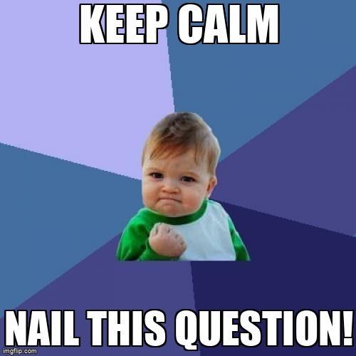Success Kid. Text says Keep Calm Nail This Question