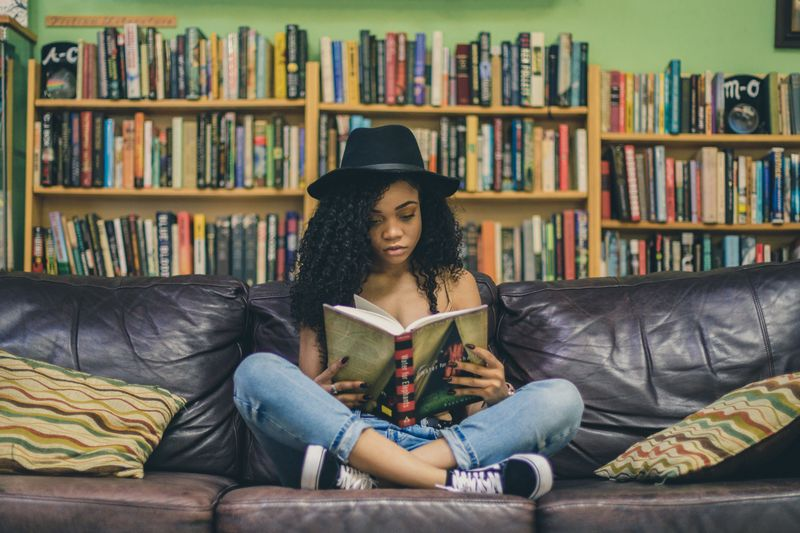 woman sitting reading