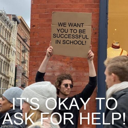 Man holding up a sign that reads We want you to be successful in school!