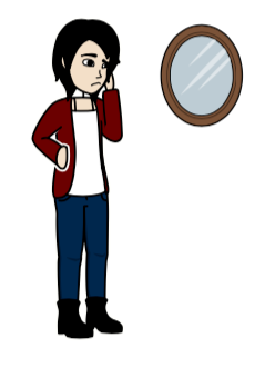 A person looking in the mirror