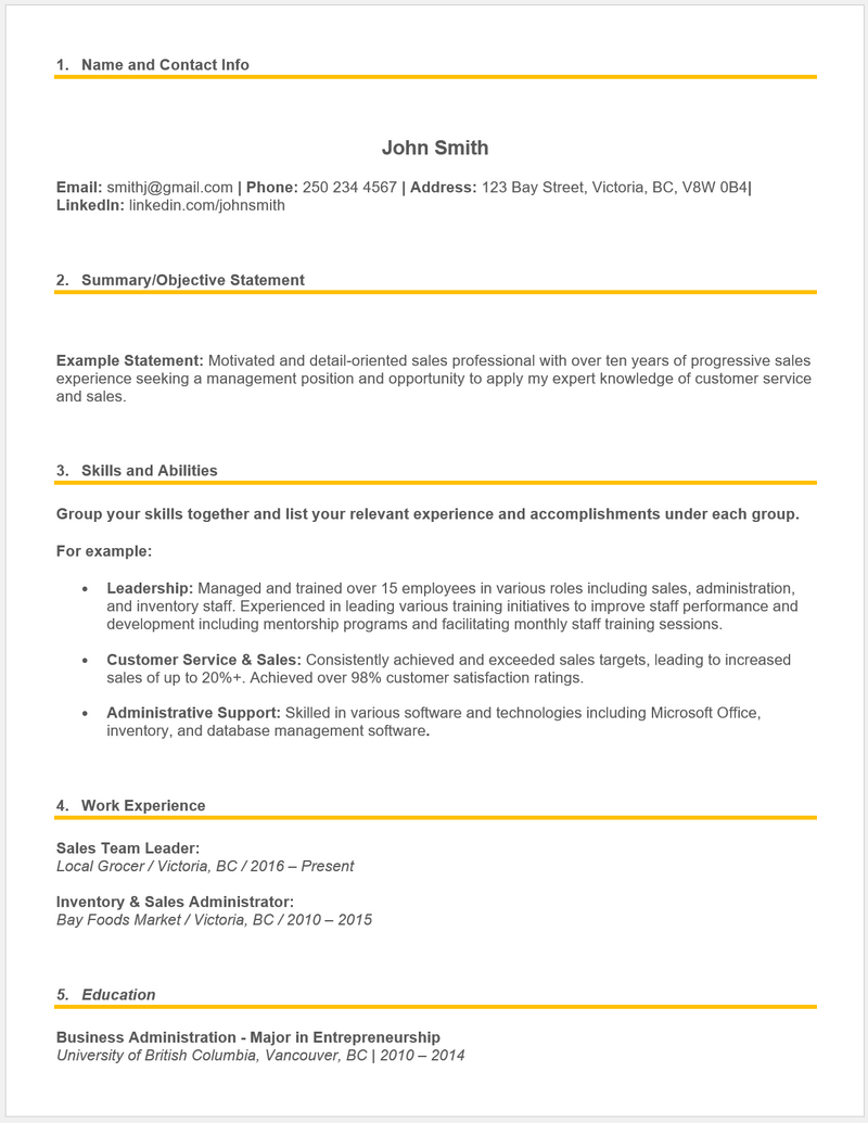 Example functional resume.