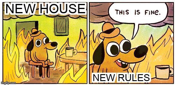 Dog in burning house meme -
