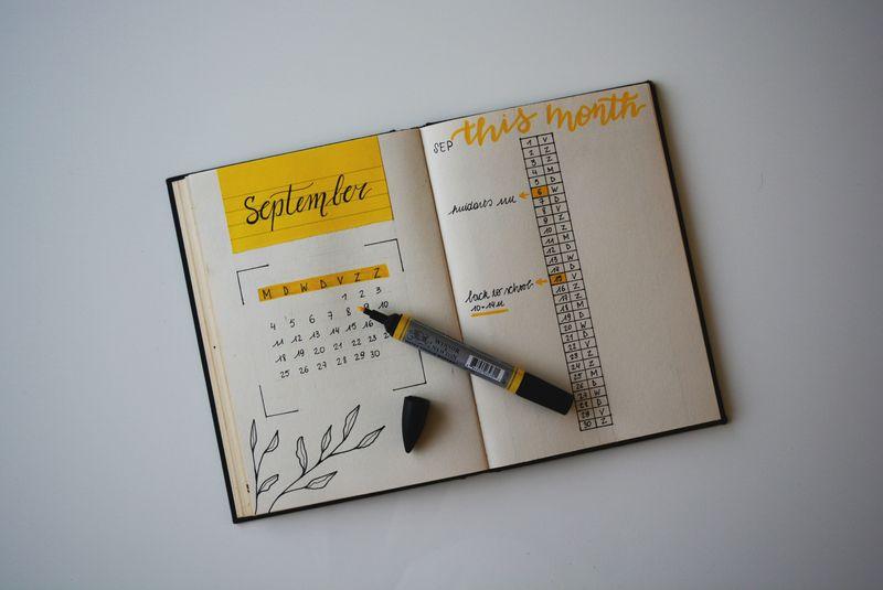 A calendar in a notebook