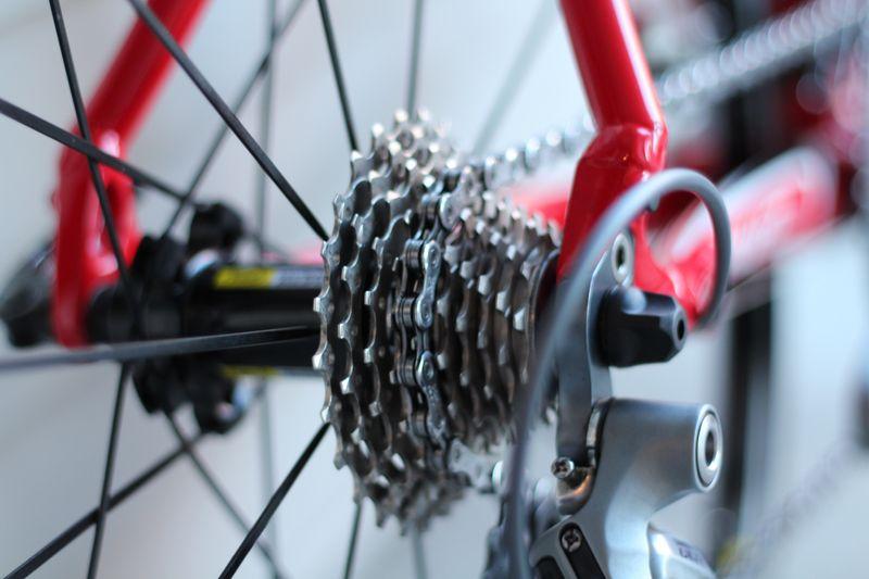 Bike gears on a wheel