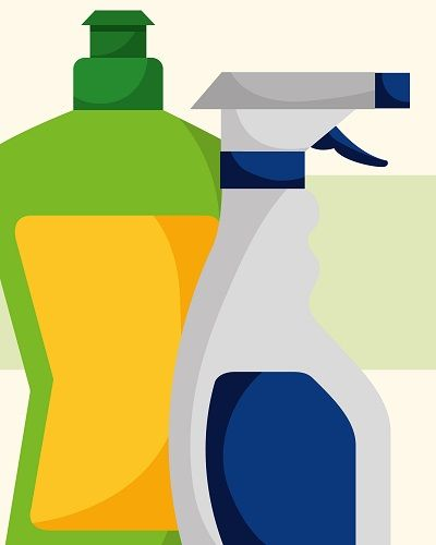 Two bottles of cleaning supplies