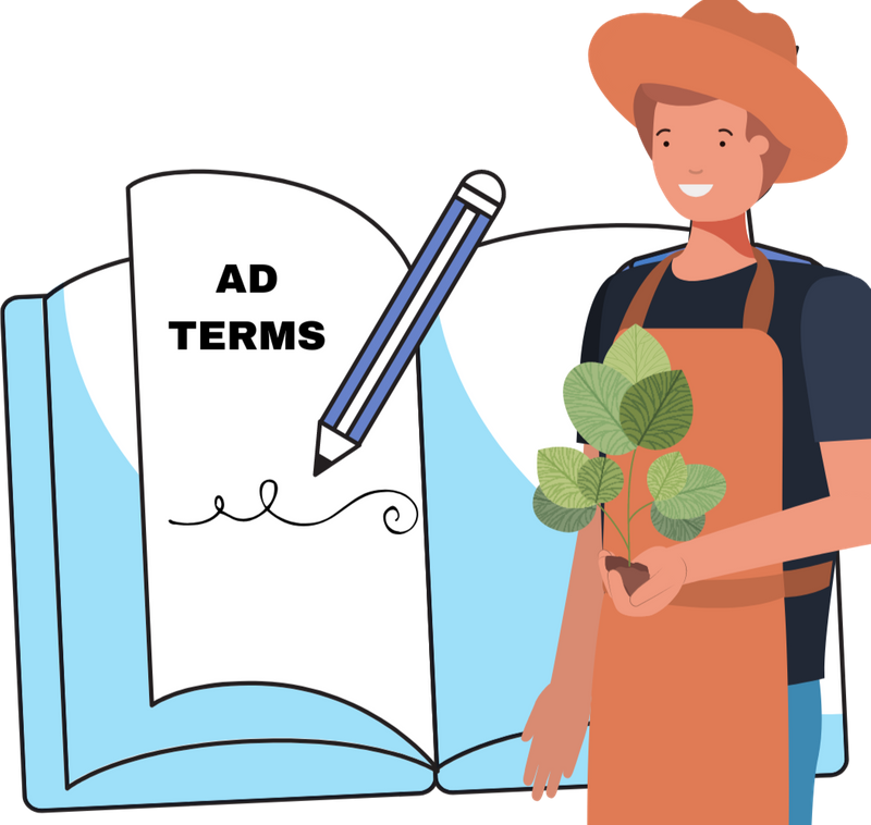 Jasper the farmer holding a plan and standing by large book that says Ad Terms.