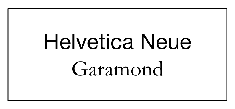 An example of appropriately contrasting fonts: Helvetica Neue as a title, and Garamond as text.