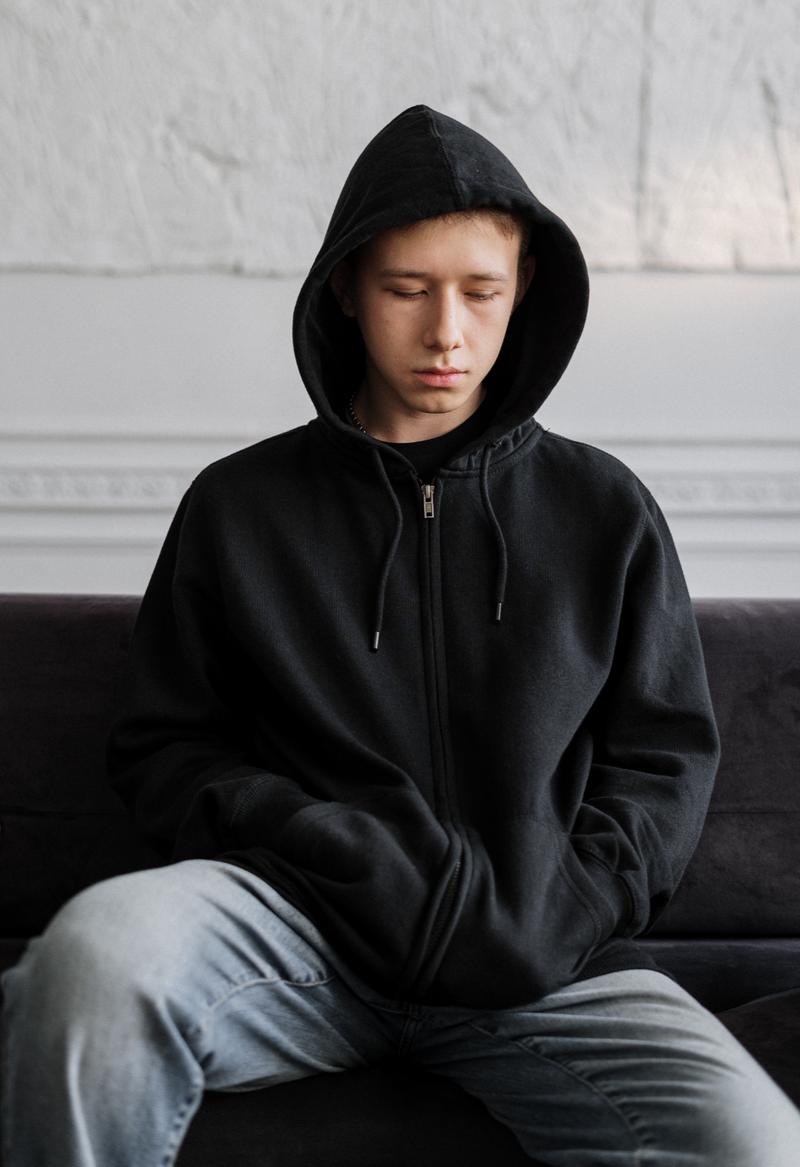 Teenager looking sad