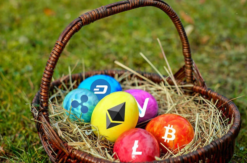 An easter basket with a number of eggs. Each egg has a different coin logo on it.