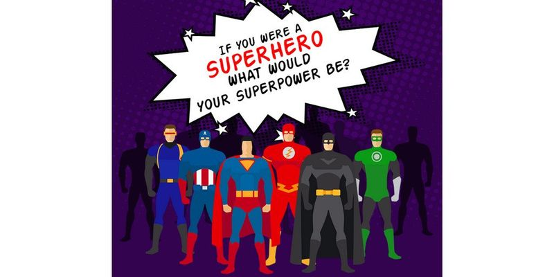 An image of a group of superheroes and text that says
