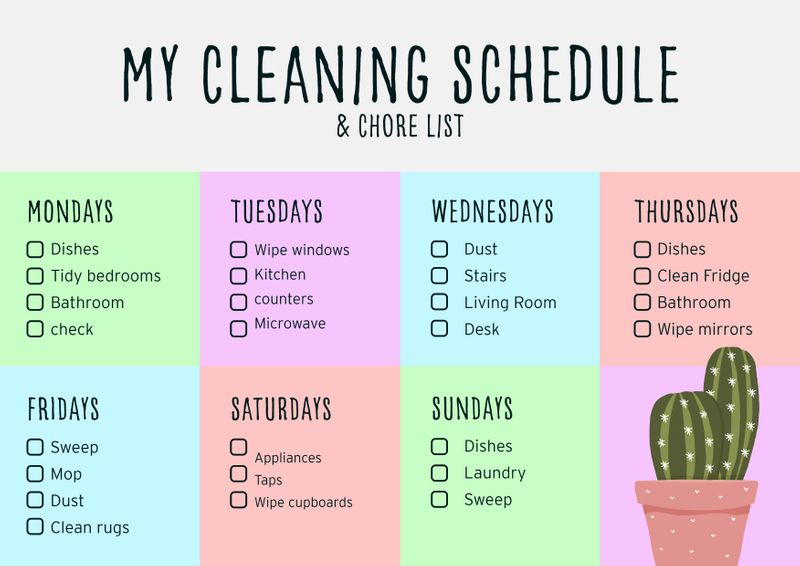 A weekly cleaning schedule & chore list