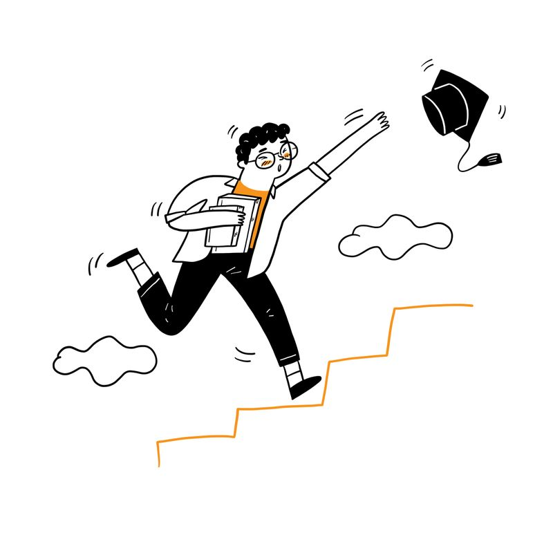A drawing of a student climbing a staircase while chasing a graduation hat