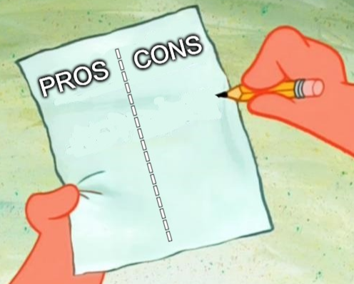A pros and cons list
