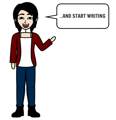 """a person says """"and start writing"""""""