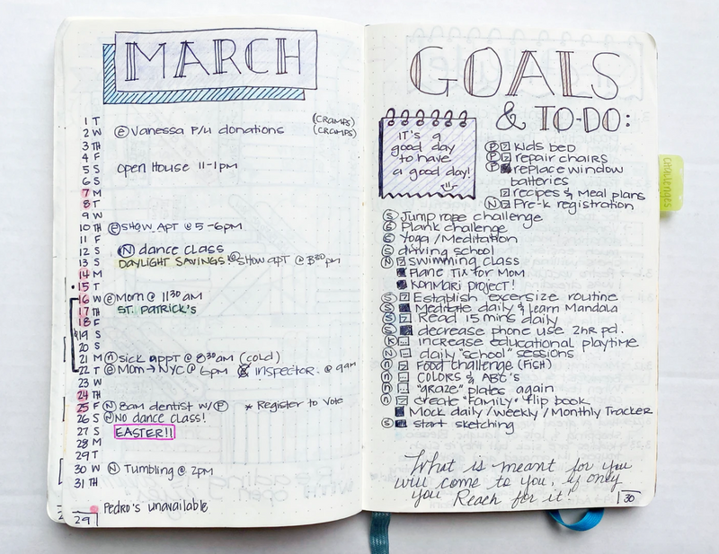 A bullet journal book opened to two pages: one is a planner for the month of March, the other a to-do list