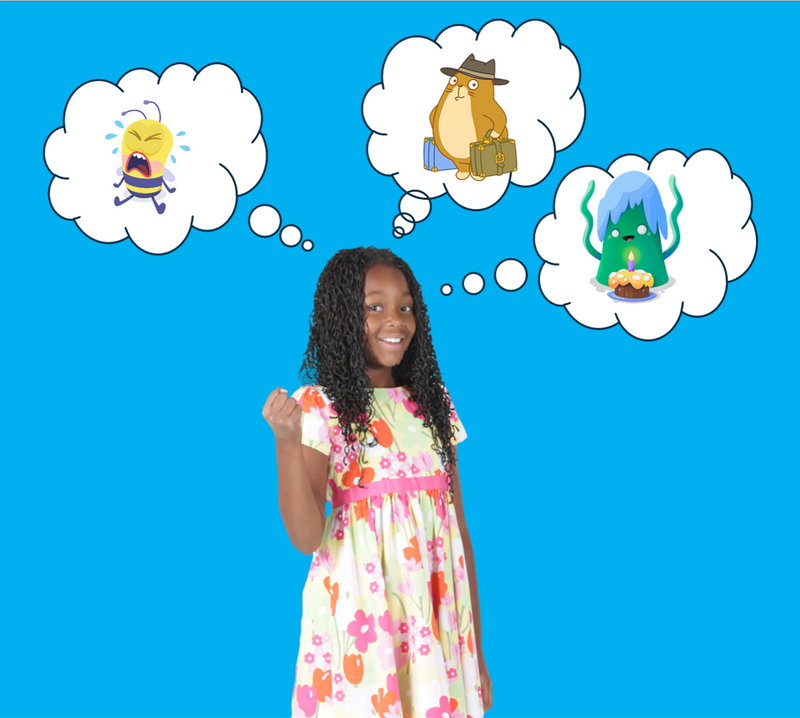 Girl with thought balloons showing three different characters, a bee, a cat with a suitcase, and an alien.