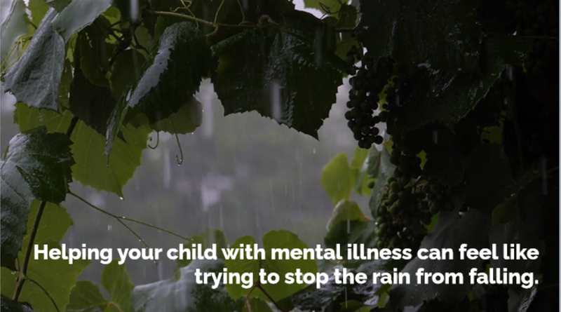 Photo background with rain. Text: Helping your child with mental illness can feel like trying to stop the rain from falling.