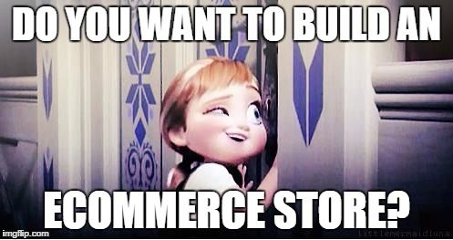A girl peeking through a hole in the door. Overlay text: Do you want to build an ecommerce store.