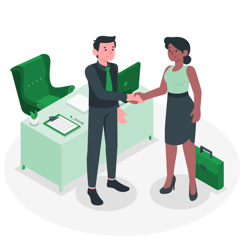 Two persons shake hands in a business setting