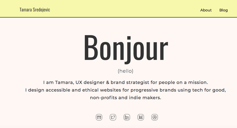 An introduction screen of a personal portfolio website with the author's name, job, and purpose.