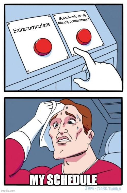 Two buttons meme, deciding between extracurriculars and other commitments.