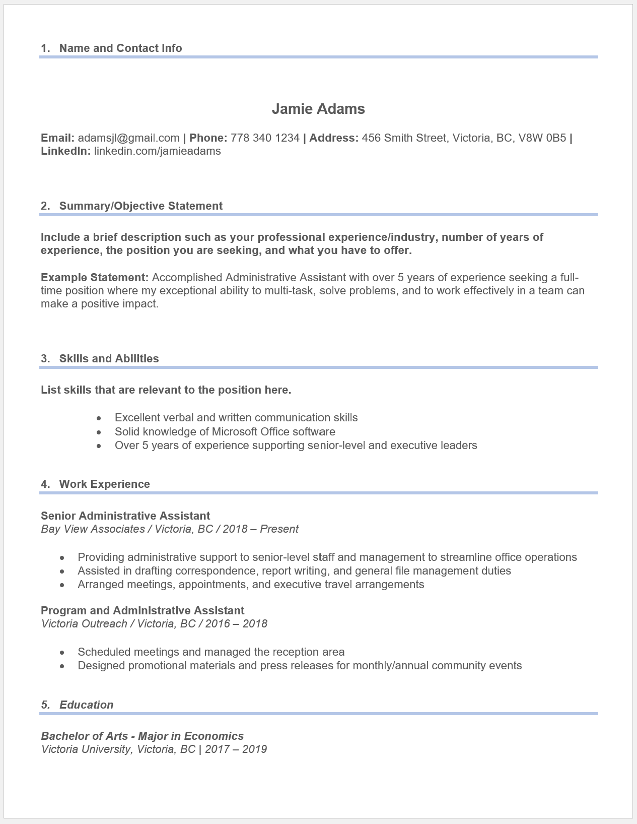 Example chronological resume for an administrative assistant position.