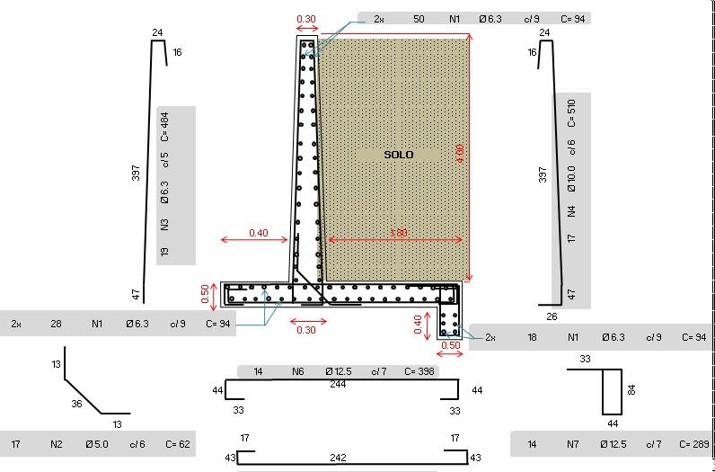 Dimensionamento de Muros de Arrimo em Concreto Armado
