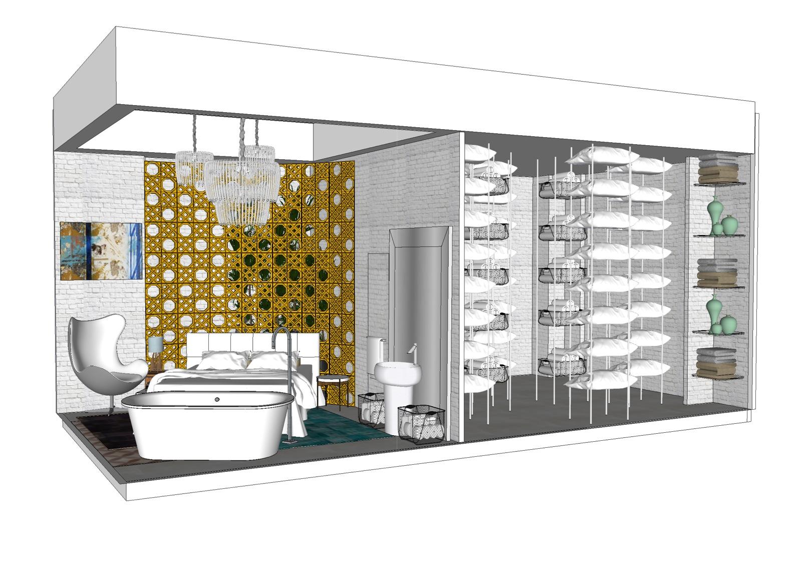 Projeto arquitetônico de uma loja com vitrine no shopping