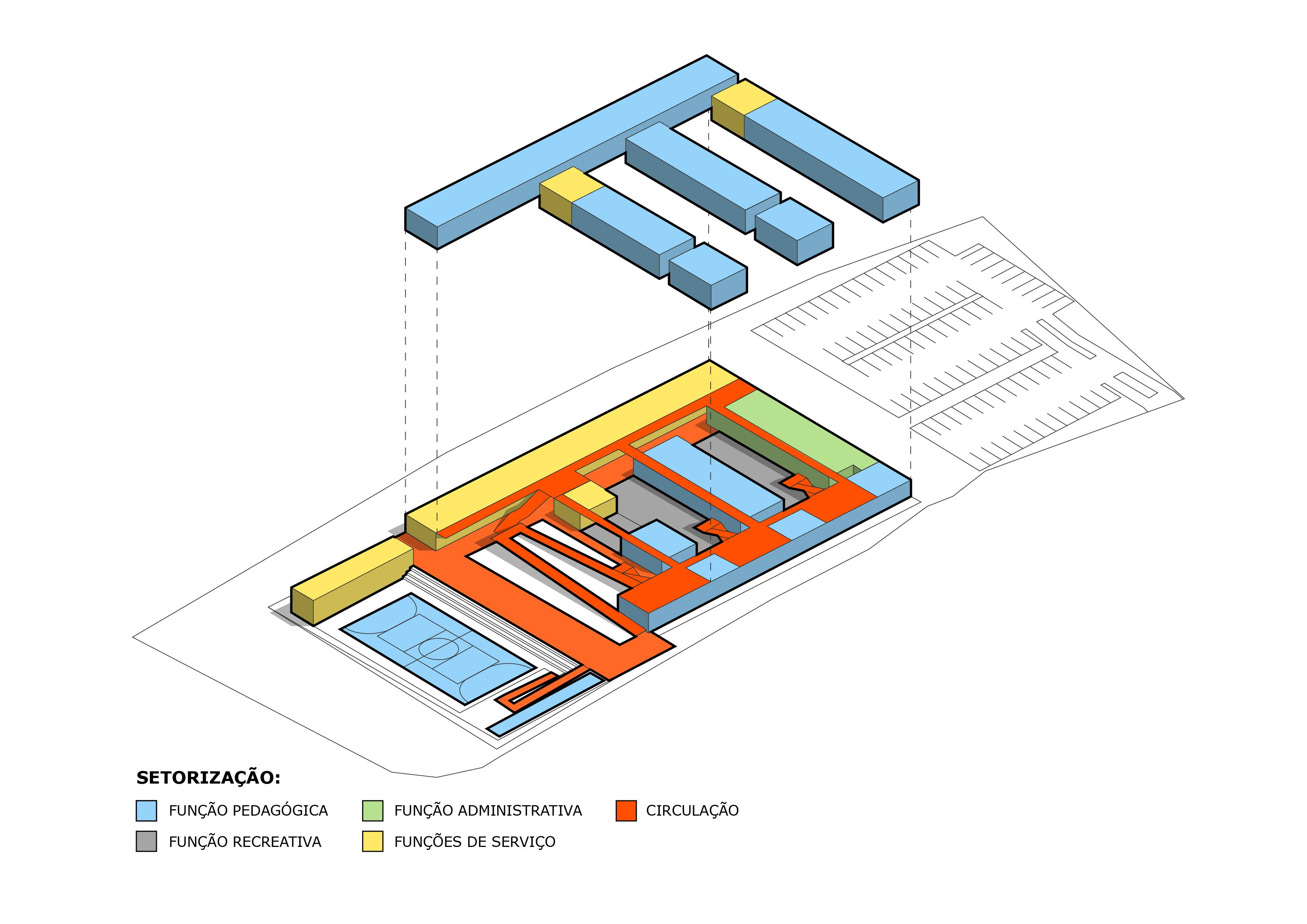 Diagrama 3D de edifício no curso online de Illustrator