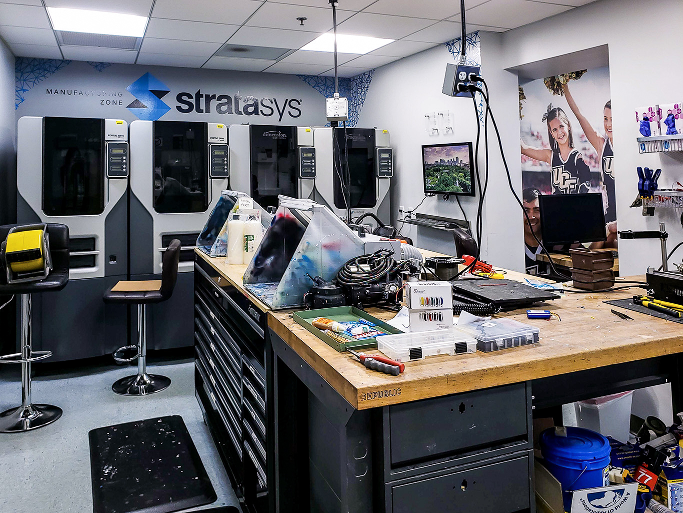 The 3D-printers used at the Limbitless lab to create the bionic arms