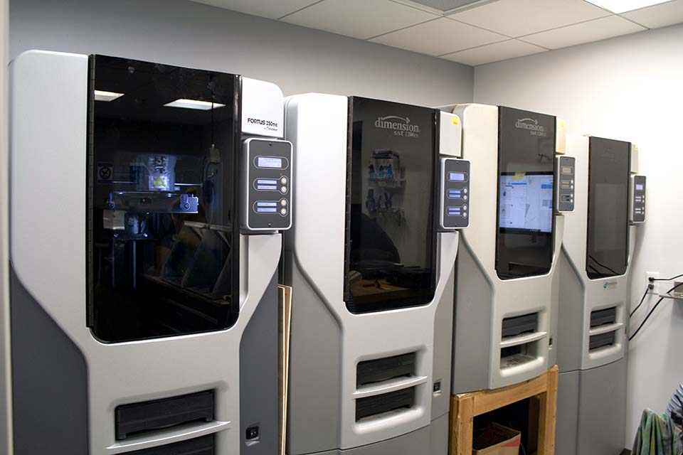 An image of our 3D-printers that are used to print our bionic arms with ABS plastic.