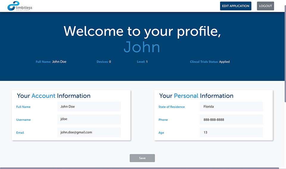 Screenshot of clinical trials home page showing an example profile