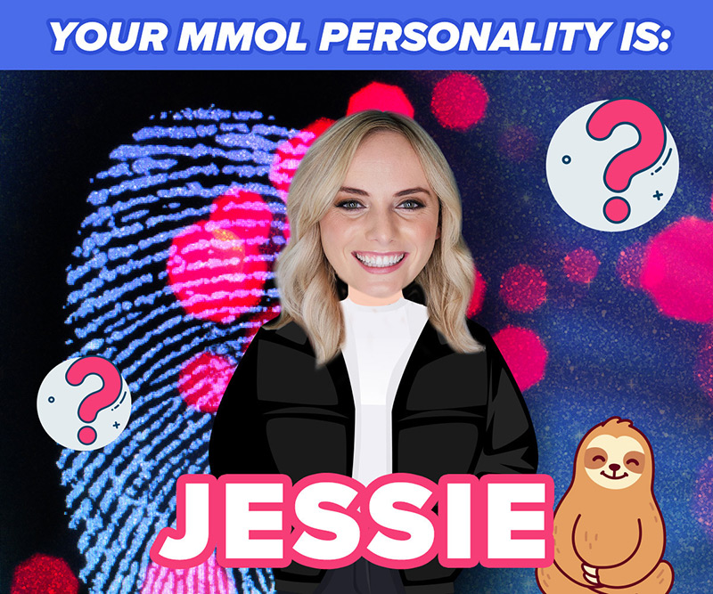 Jessie Stephens with a fingerprint behind her and a cartoon sloth next to her.