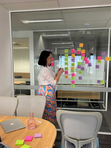 Emma Gillespie mapping out the narrative arc with post-it notes