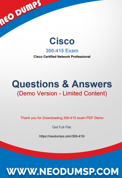 PDF (New 2021) Actual Cisco 300-415 Exam Dumps