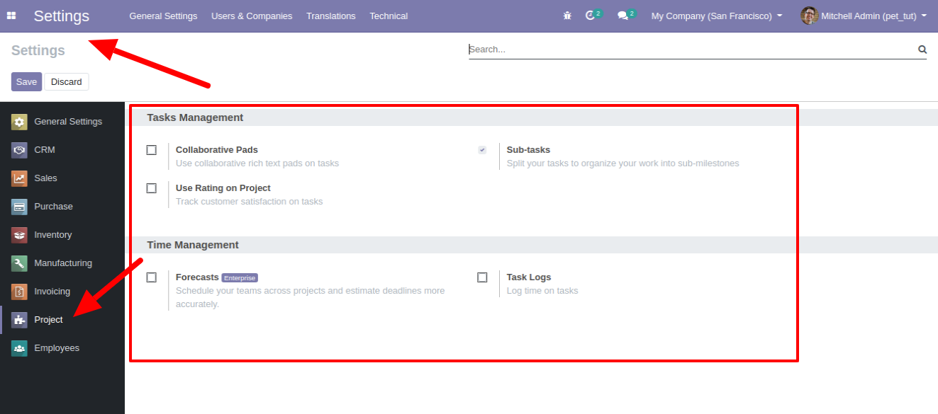 addon project odoo settings