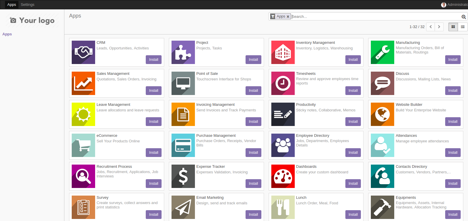 Odoo 11 Screenshot