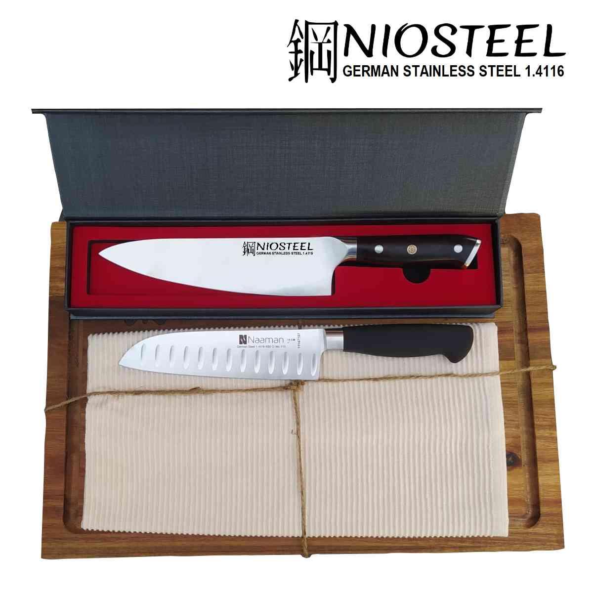 מארז בוצ'ר ו-2 סכיני שף עם חריטה נעמן Naaman