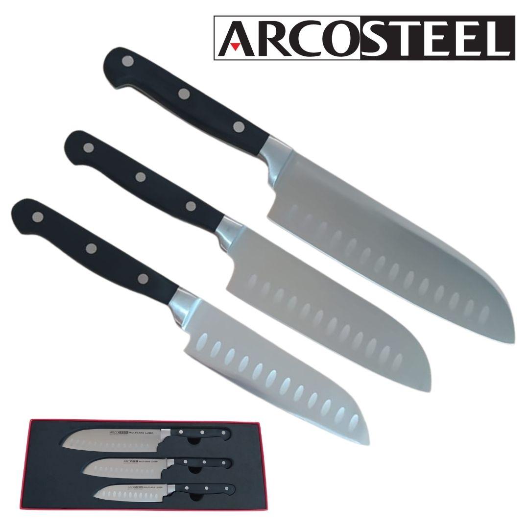 סט סכינים עם חריטה ארקוסטיל ARCOSTEEL