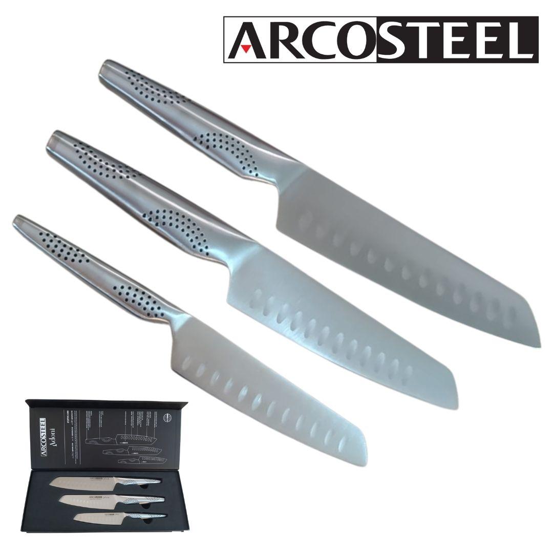 סט סכיני ארקוסטיל עם חריטה סדרת אדוני ARCOSTEEL Adoni