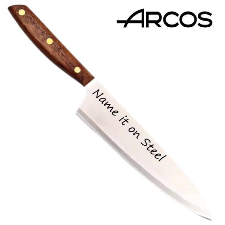 סכין שף מחוזקת עם חריטה בעלת להב באורך 21 ס