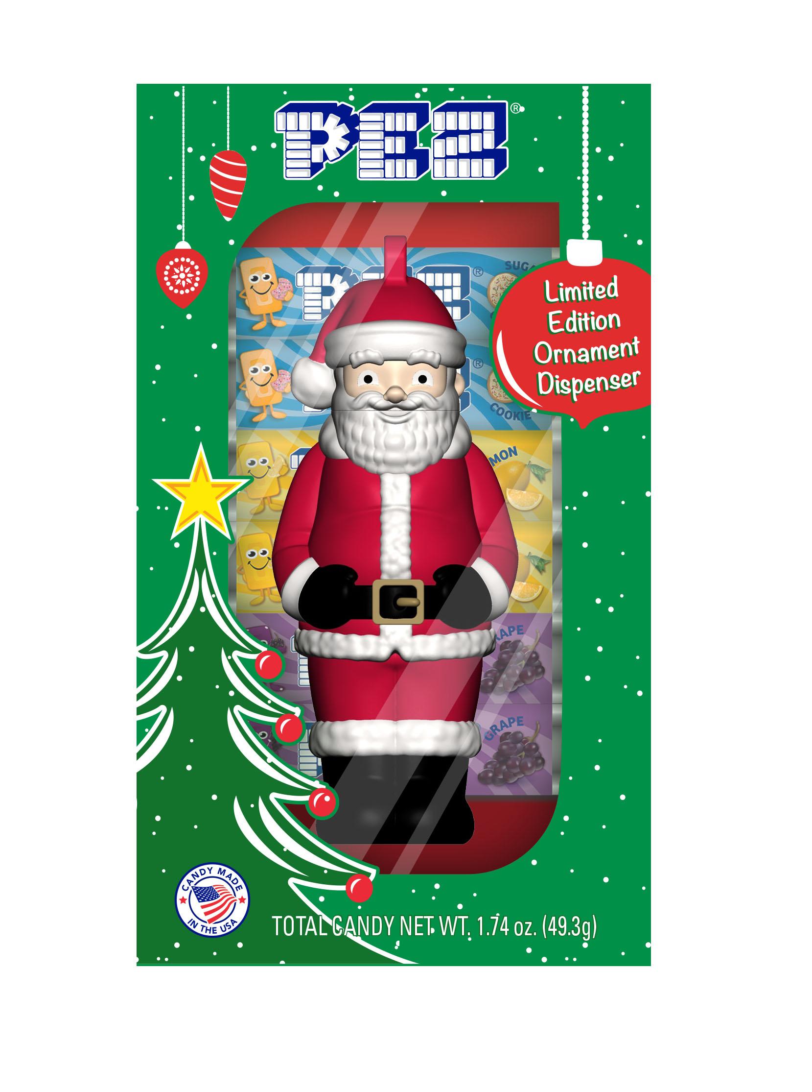 Santa Claus PEZ Dispenser Ornament with Sugar Cookie PEZ Candy