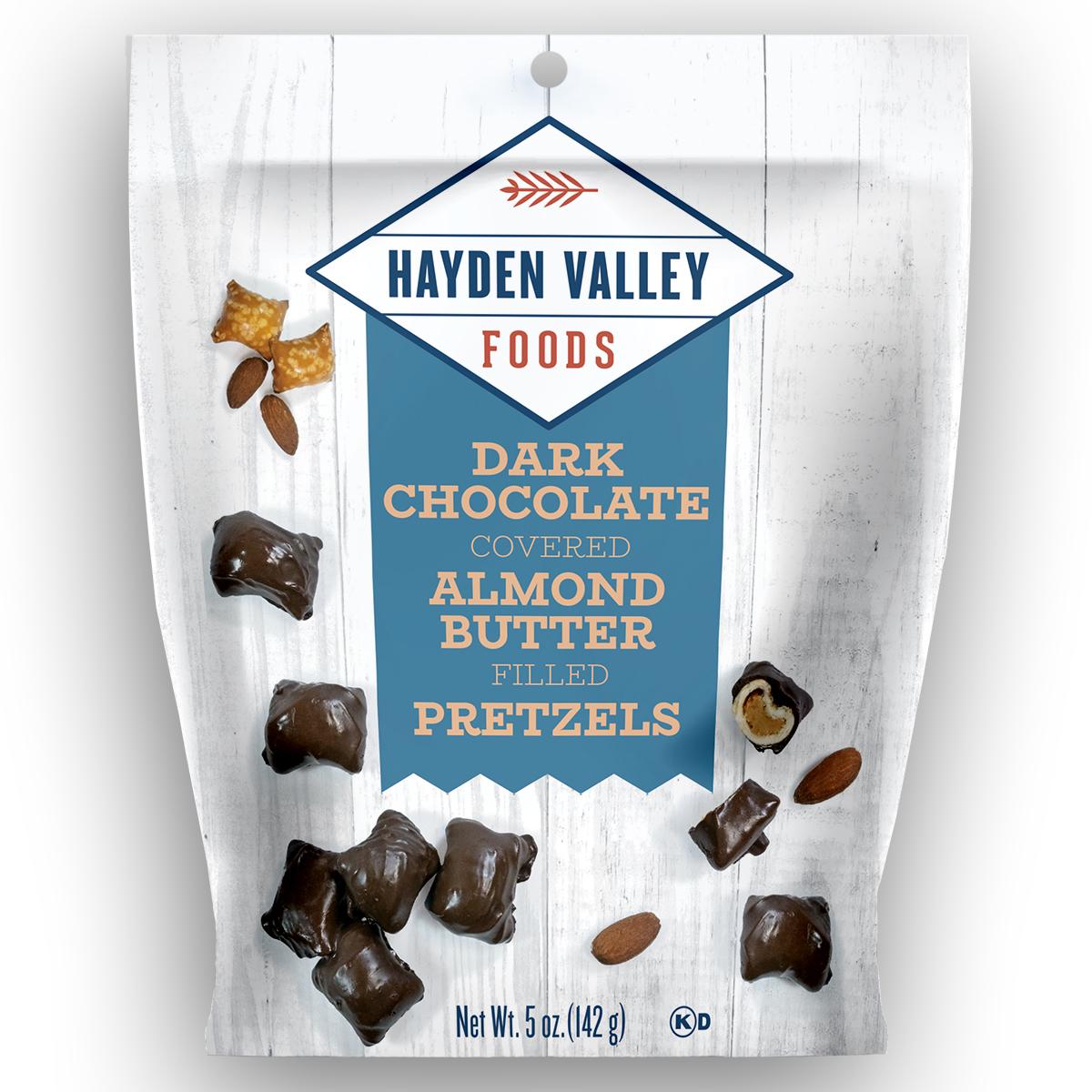 Dark Chocolate Covered Almond Butter Filled Pretzels