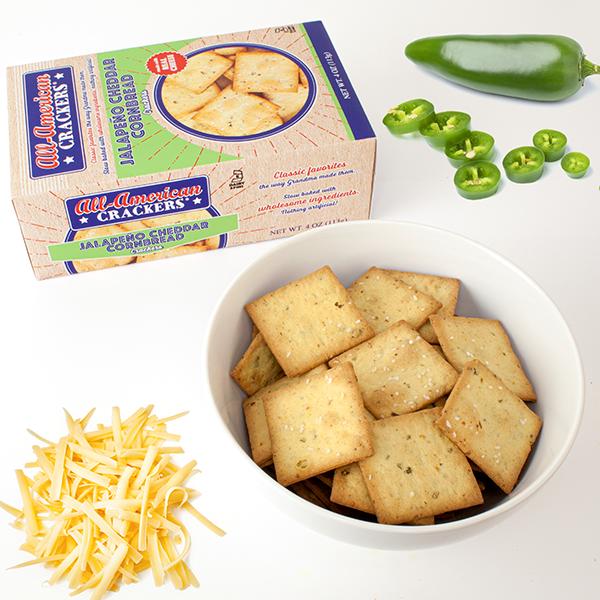 All-American Jalapeño Cheddar Cornbread Crackers