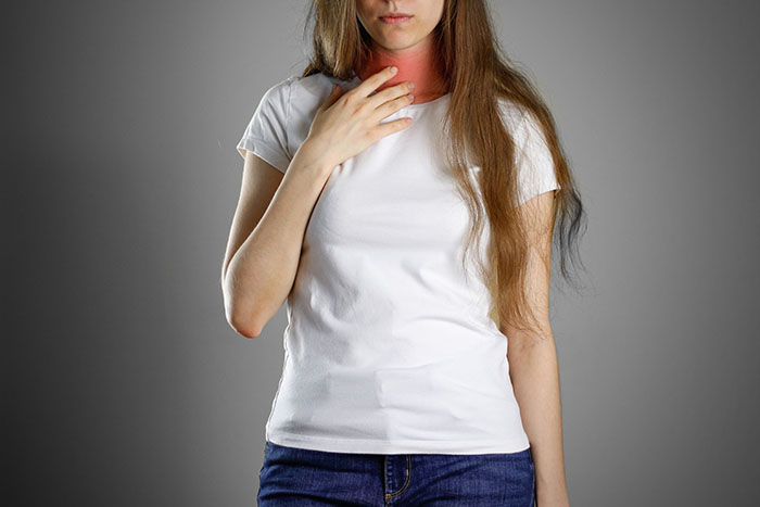 Throat infection from pollution or smoking
